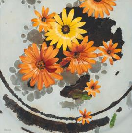 Namaqualand Daisies – Tanqua Karoo - Painting by Lizelle Kruger