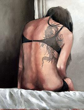 The Tattoo - Oil Painting by Mila Posthumus