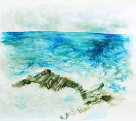 Where Earth Meets Ocean - Watercolour Painting by Janet Botes