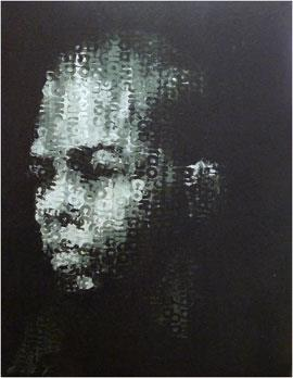 Binary Visage: Code IV - Acrylic Painting by Claude Chandler