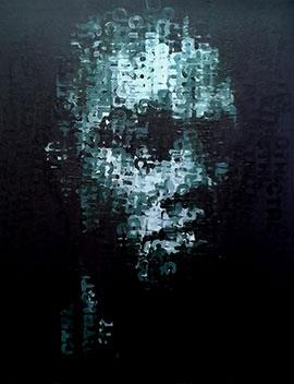 Binary Visage: Control - Acrylic Painting by Claude Chandler