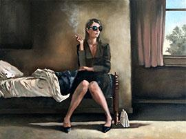 A Cigarette Before Leaving - Oil Painting by Mila Posthumus