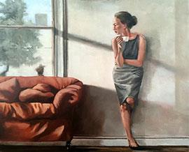 Morning Coffee - Figurative Oil Painting by Mila Posthumus