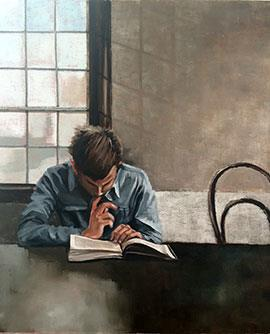 The Reader - Figurative Oil Painting by Mila Posthumus