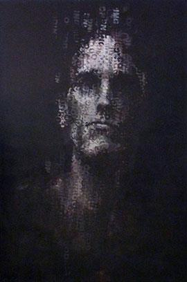 Binary Visage: Coding III - Large Portrait Painting by Claude Chandler