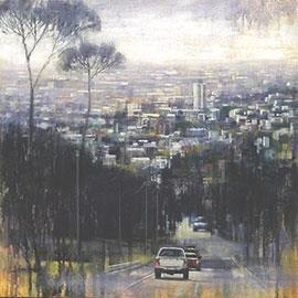 9:00 AM Bellvue Road - Oil Painting by Karen Wykerd