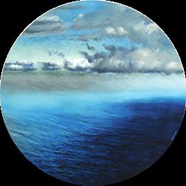 Aerial View II - Circular Oil Painting by Janna Prinsloo