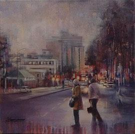 7:48 AM, Bree Street - Oil Painting by Karen Wykerd