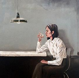 Portrait With Water Glass - Painting by Mila Posthumus