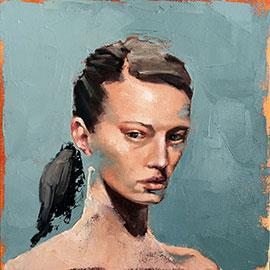 Small Portrait #VII - Painting by Mila Posthumus