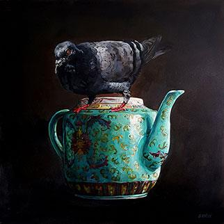 The Pigeon And The Chinese Teapot - Painting by Grace Kotze