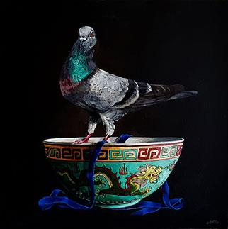 The Pigeon And The Chinese Dragon Bowl - Painting by Grace Kotze