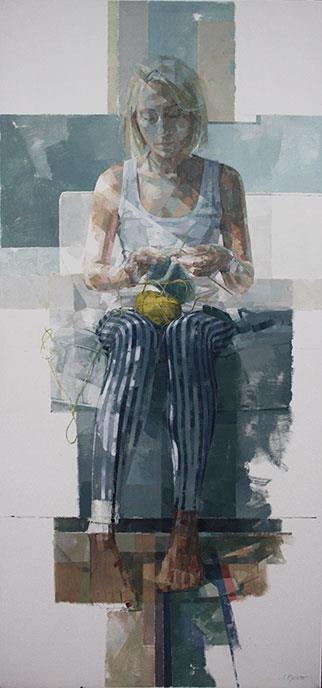 The Knitter - Painting by Jeannie Kinsler