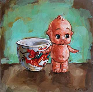 Kewpie And Dragon - Painting by Grace Kotze