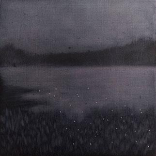 Fireflies By The Seashore - Painting by Rene Johansen