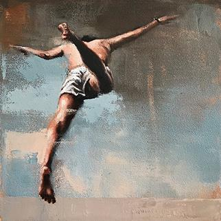 Leap II - Painting by Mila Posthumus
