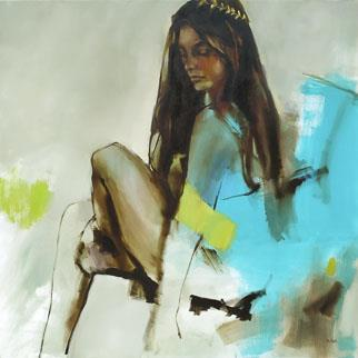 Turquoise And A Tiara - Painting by Helen van Stolk