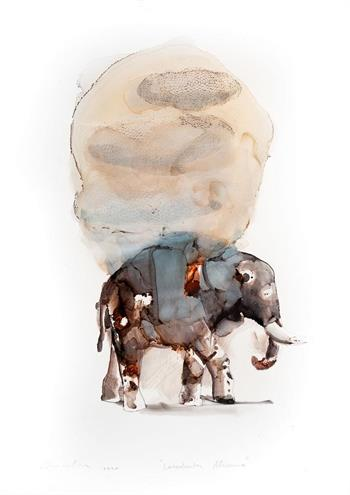 Loxodonta Africana - Ink On Yupo by Pascale Chandler