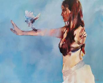Blue Bird Calling - Painting by Helen van Stolk