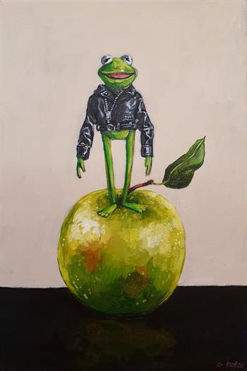 Magnificent Amphibian & Apple - Painting by Grace Kotze